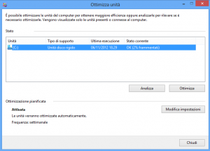 come deframmentare windows 8