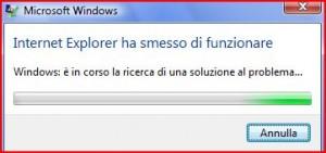 internet explorer ha smesso di funzionare errore